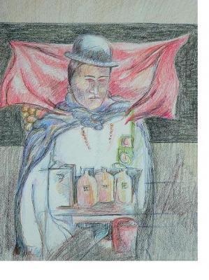 Dibujos: Chola del Alto de la Paz con su mercancía (2000)
