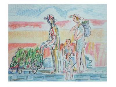 Dibujo: Familia volviendo a casa con trozos de paisaje (2000)