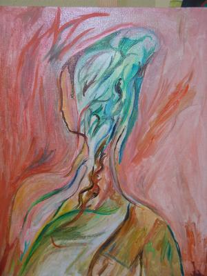 Acrílico: Escorzo de femenina dulzura