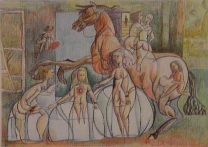Dibujos: Primer intento de destrucción de las Meninas (1982)