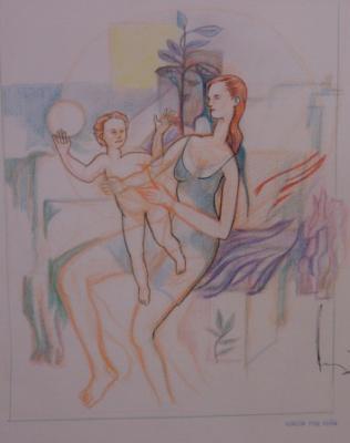 Mujer con niña (Dibujo, 1989)