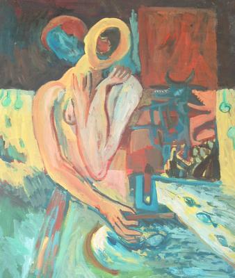 Pintura: Son solo poros, compañera (acrílico, 2002)
