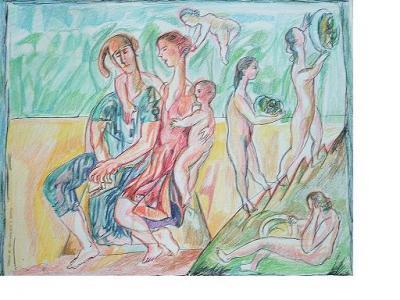 Dibujos de Angel Arias: Familia de saltimbanquis y ninfas (2004)