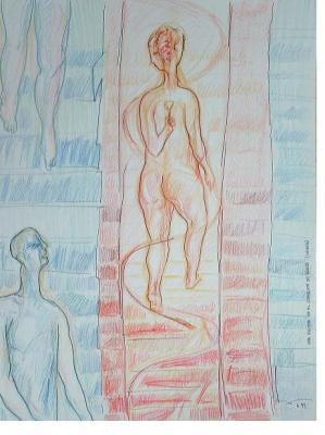 Dibujo: Una escena en el Convento do Beato (Lisboa)