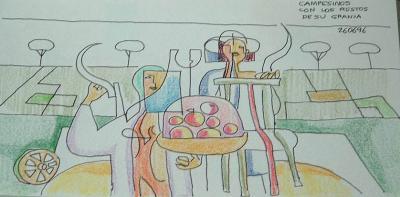 Dibujo: Campesinos con los restos de su Granja