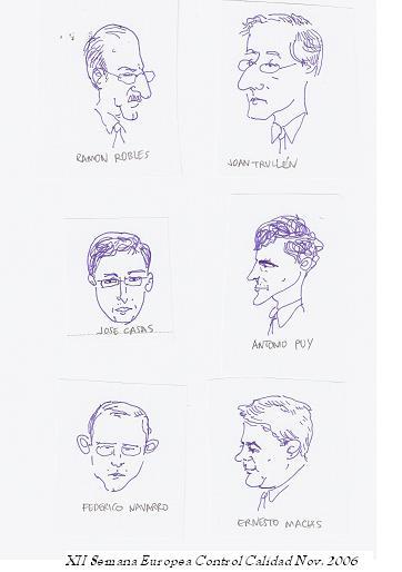 Caricaturas de los participantes en la Mesa redonda sobre Control Calidad -AEC, noviembre