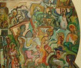 Dibujo comentado: Visión del Rastro de Madrid (óleo, 2002?)