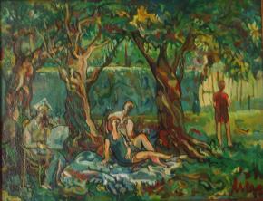 Cuadro comentado: Grupo de personajes en un jardín (óleo, 1998)