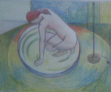 Dibujo comentado: Baño en el comedor
