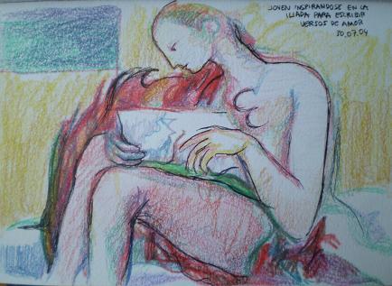 Cuadro comentado: Joven inspirándose en la Iliada para escribir versos de amor (2004)